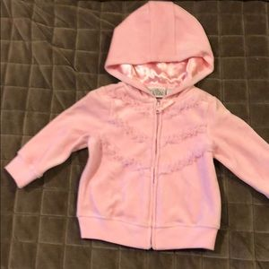 Other - NWT Pink zip up sweatshirt with hood. Size 12M